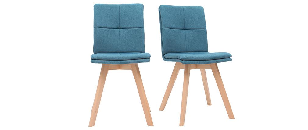 Chaises scandinaves en tissu bleu et bois clair (lot de 2) THEA