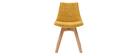 Chaises scandinaves en tissu effet velours jaune moutarde (lot de 2) - MATILDE