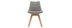 Chaises scandinaves en tissu gris clair et bois (lot de 2) MATILDE