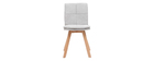 Chaises scandinaves en tissu gris clair et bois clair (lot de 2) THEA