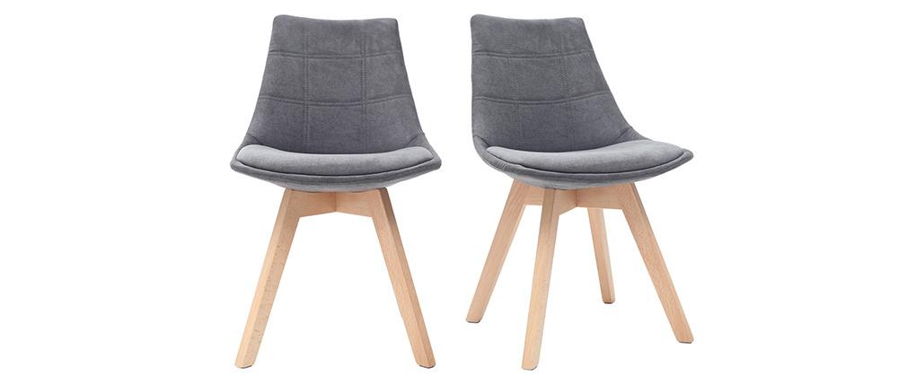 Chaises scandinaves en tissu gris foncé et bois (lot de 2) MATILDE