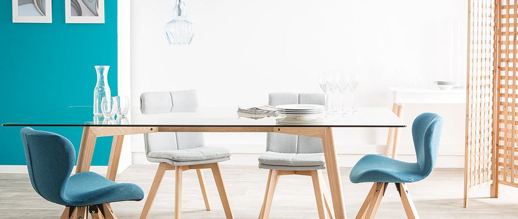 Chaises scandinaves en tissu gris foncé et bois clair (lot de 2) THEA