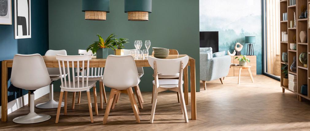 Chaises scandinaves gris et bois clair (lot de 2) LEENA