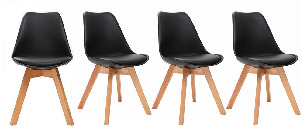 Chaises scandinaves noir et bois clair (lot de 4) PAULINE
