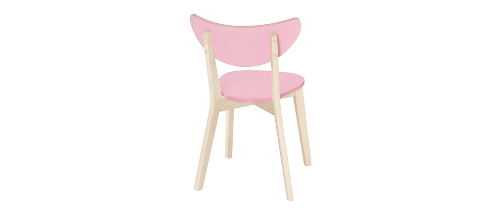 Chaises scandinaves rose et bois clair (lot de 2) LEENA