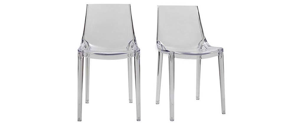 Chaises transparentes design lot de 2 int rieur for Chaises scandinaves transparentes
