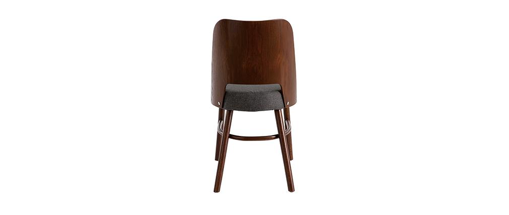 Chaises vintage bois foncé et assise gris foncé (lot de 2) EDITO