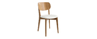 Chaises vintage chêne et assise blanche (lot de 2) LUCIA