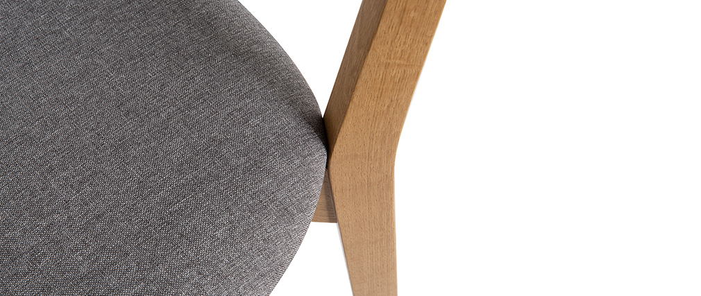 Chaises vintage chêne et assise gris chiné (lot de 2) LUCIA