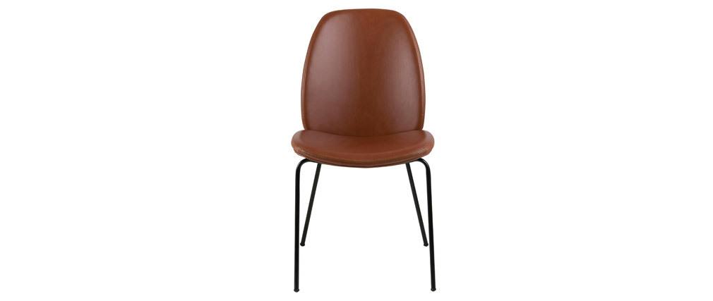 Chaises vintage marron et métal noir (lot de 2) PALOMA
