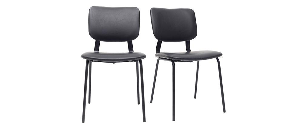 Chaises vintage noires avec pieds métal (lot de 2) LAB