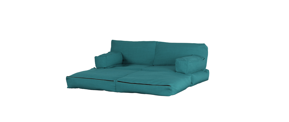 chauffeuse 2 places modulable bleu gris cocoon miliboo. Black Bedroom Furniture Sets. Home Design Ideas