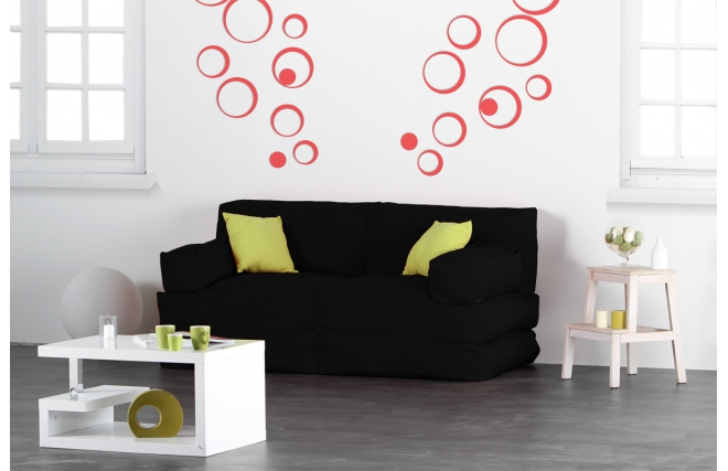 chauffeuse 2 places modulable noir cocoon miliboo. Black Bedroom Furniture Sets. Home Design Ideas