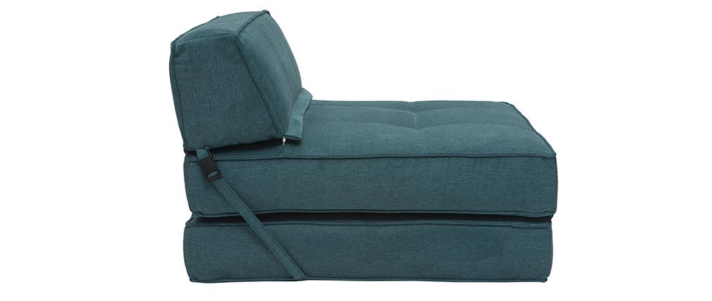 Chauffeuse convertible design effet velours bleu pétrole KATY