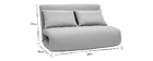 Chauffeuse convertible design gris clair 2 places SLEEPER
