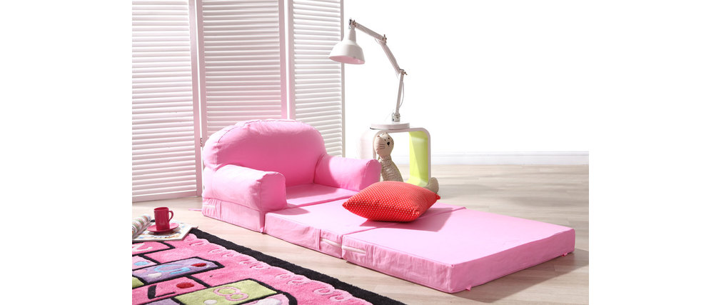 chauffeuse enfant convertible rose noa miliboo. Black Bedroom Furniture Sets. Home Design Ideas