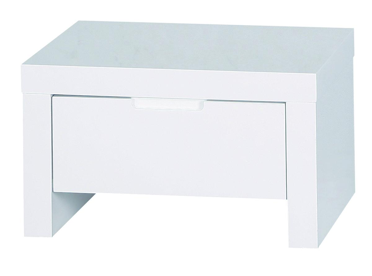 Chevet table de nuit design blanche laqu e l a miliboo - Tables de chevet blanches ...