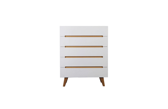 chiffonnier scandinave blanc brillant et fr ne 5 tiroirs melka zoom. Black Bedroom Furniture Sets. Home Design Ideas