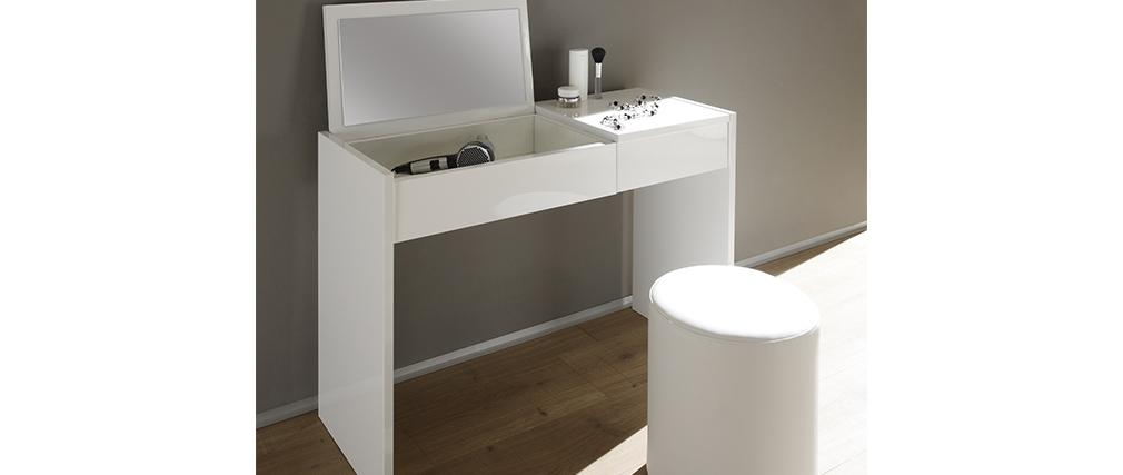 Coiffeuse design avec miroir et rangements blanc laqué SMART