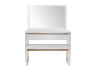 Coiffeuse design blanche mat, miroir et banc SIGRID