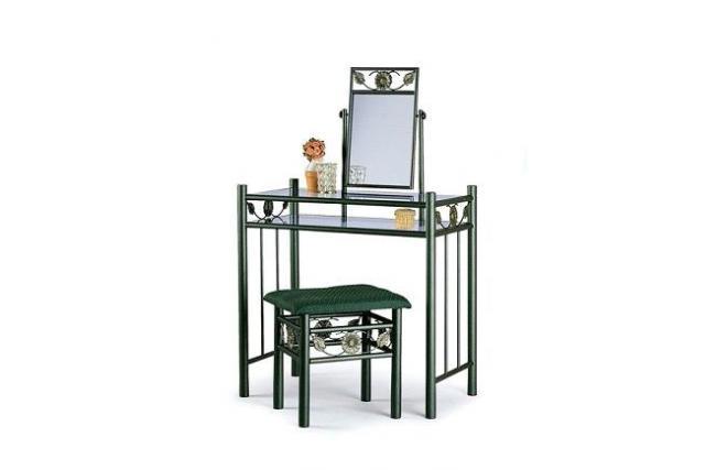coiffeuse en m tal et verre tremp tournesol coloris vert miliboo. Black Bedroom Furniture Sets. Home Design Ideas
