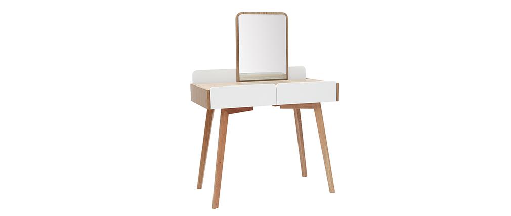 Coiffeuse moderne avec miroir et rangements bois et blanc TAYA