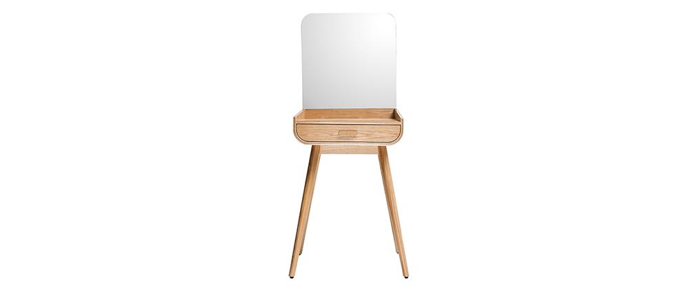 Coiffeuse moderne avec rangement et miroir frêne HALLEN - Miliboo & Stéphane Plaza