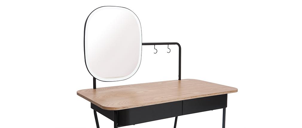 Coiffeuse vintage avec miroir métal et frêne CAVAL - Miliboo & Stéphane Plaza
