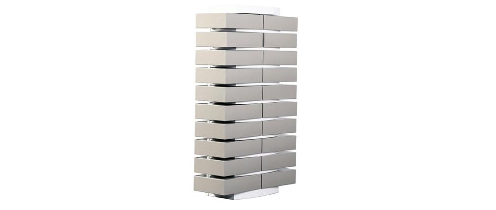 Colonne cartonnier blanc design et ses 20 boîtes de classement gris clair - SAMOURAI