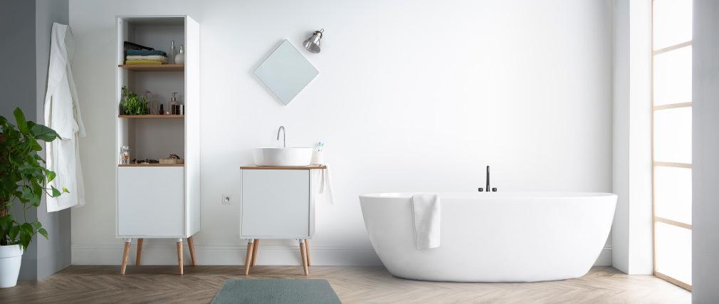 Colonne de salle de bain blanc et bois TOTEM