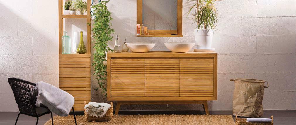 Colonne de salle de bain en teck design ANO