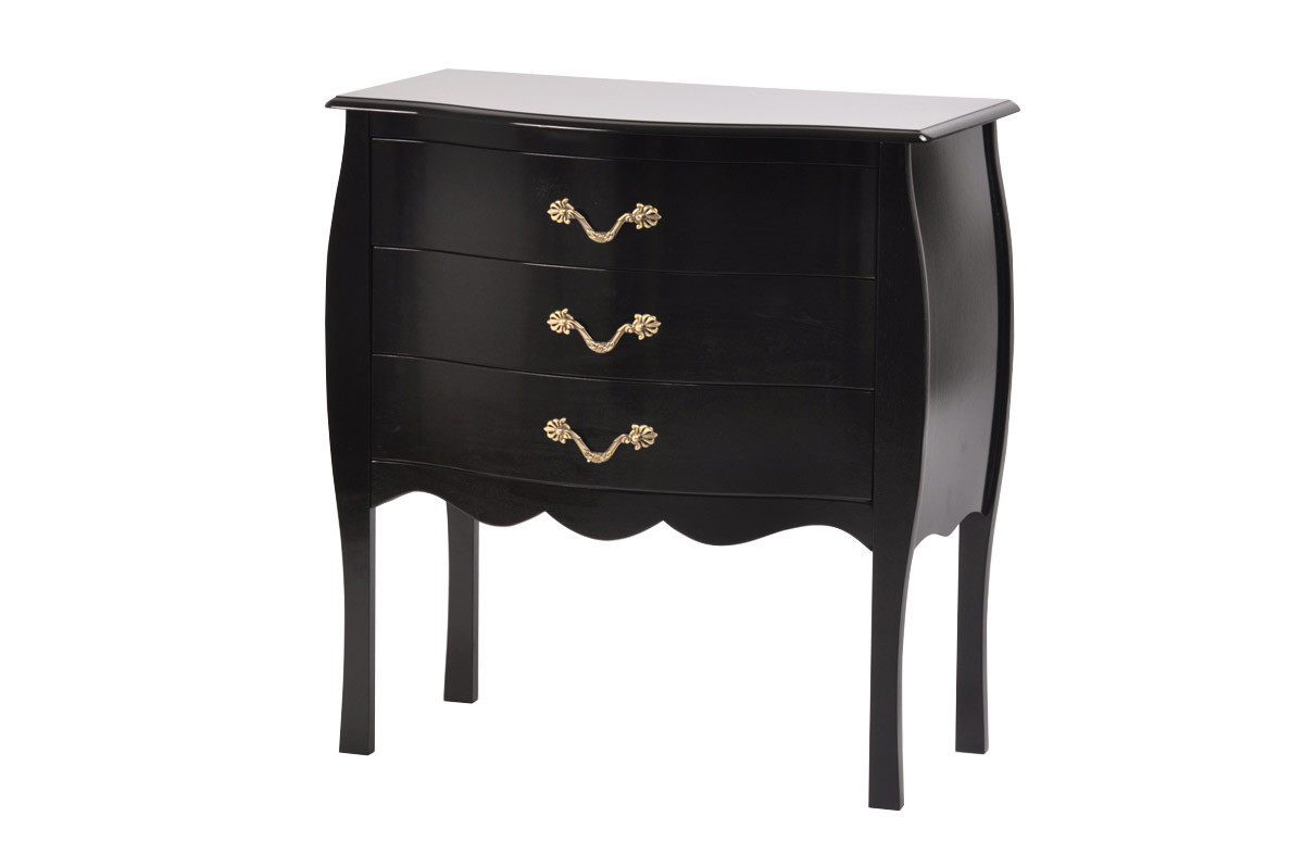commode baroque noire 3 tiroirs louisa miliboo. Black Bedroom Furniture Sets. Home Design Ideas