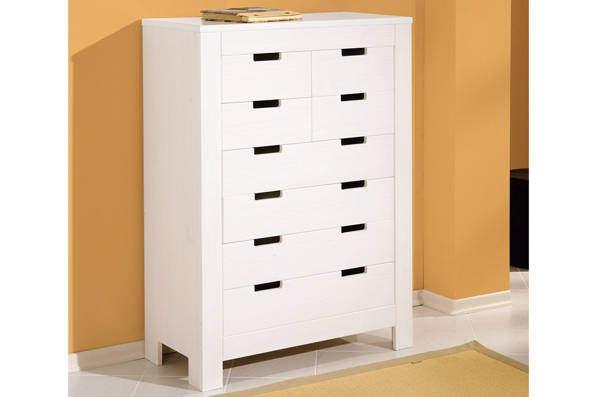 Commode blanche design pin 8 tiroirs gaia miliboo - Commode haute blanche ...