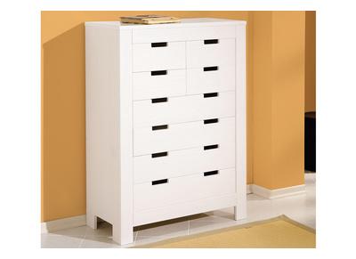 Commode blanche design pin 8 tiroirs GAIA