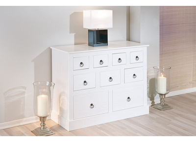 Commode blanche pin massif CAMBRIDGE