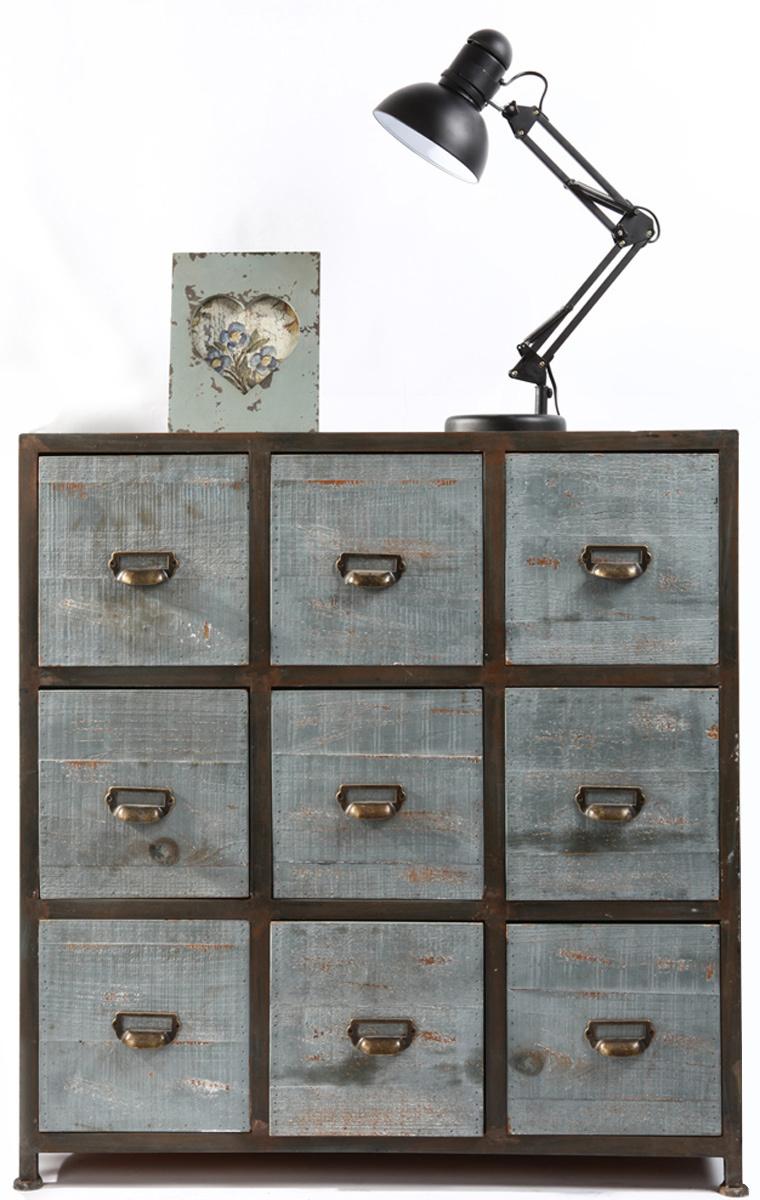 Commode bois industrielle 9 tiroirs Willard