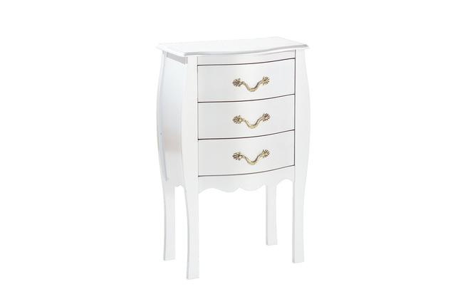 commode chevet baroque blanc 3 tiroirs louisa miliboo. Black Bedroom Furniture Sets. Home Design Ideas