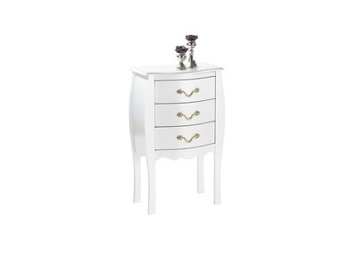 Commode / chevet baroque blanc 3 tiroirs - LOUISA