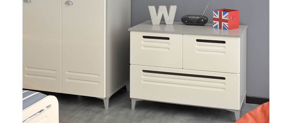 commode design 3 tiroirs effet m tal blanc locker miliboo. Black Bedroom Furniture Sets. Home Design Ideas