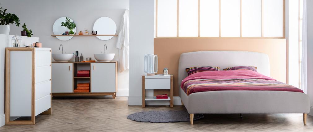 Commode design 4 tiroirs blanc mat ARMEL