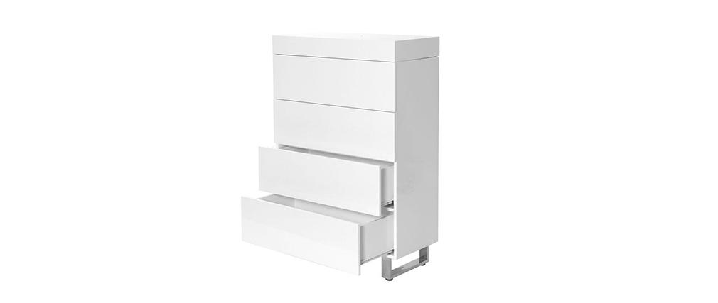 Commode design 4 tiroirs laqué blanc MELHA