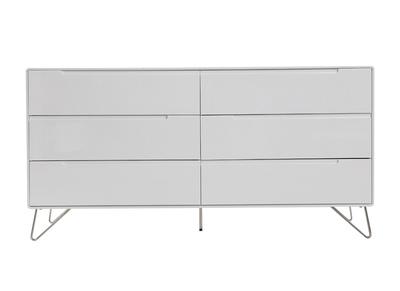 Commode design 6 tiroirs blanc mat ILLIA