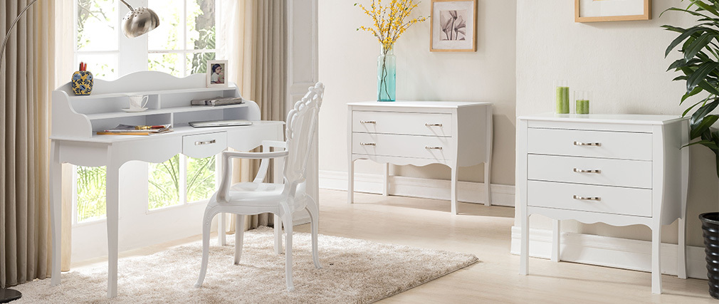 Commode design baroque blanc 3 tiroirs MARGOT