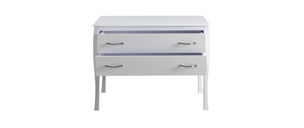 Commode design laquée blanc 2 tiroirs MARGOT