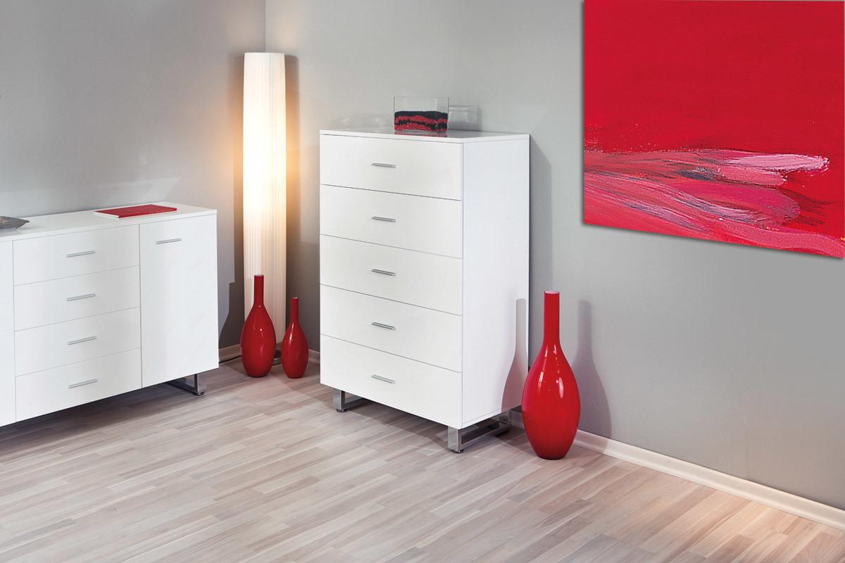 Commode design laqu e blanche 5 tiroirs eloa miliboo - Commode laquee blanche design ...
