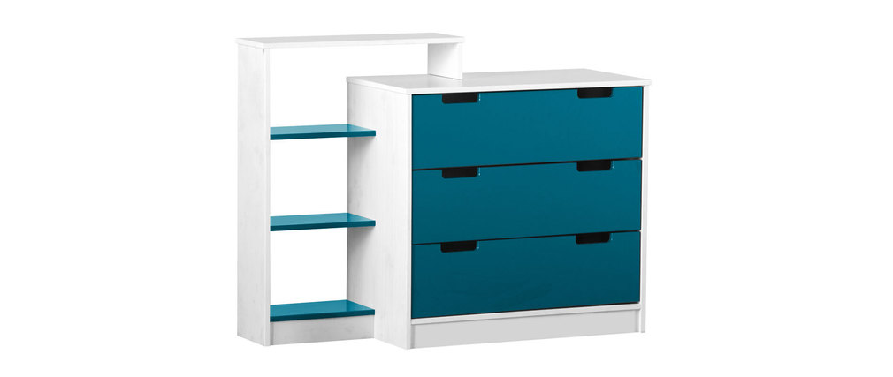 commode enfant blanche bleue crea miliboo. Black Bedroom Furniture Sets. Home Design Ideas