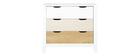 Commode scandinave avec 3 tiroirs blanc et bois MOLENE