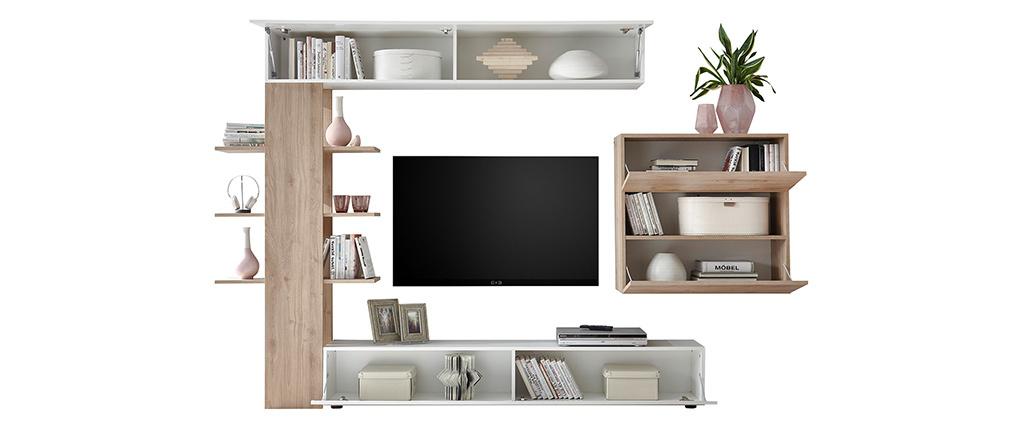 Composition TV murale finitions bois clair et blanc ETERNEL
