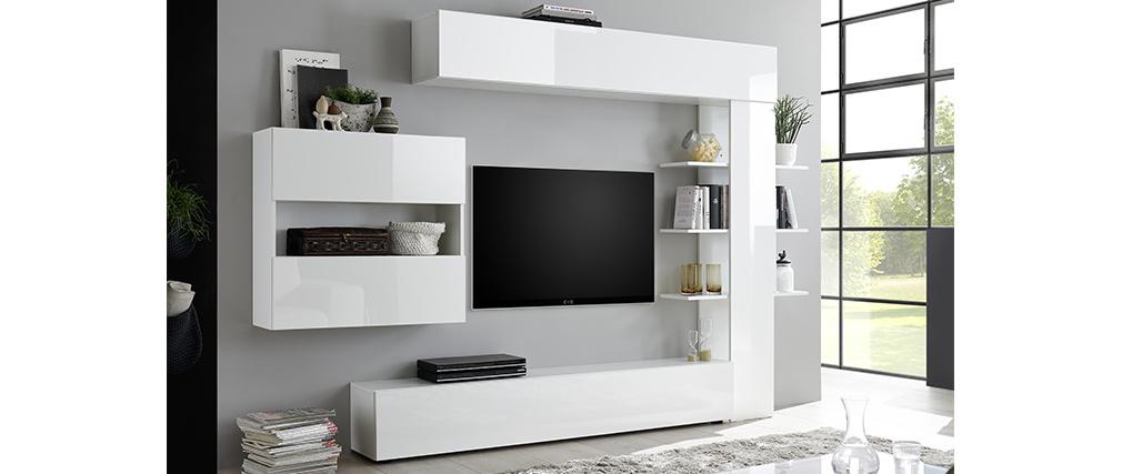 Composition TV murale laquée blanc brillant ETERNEL