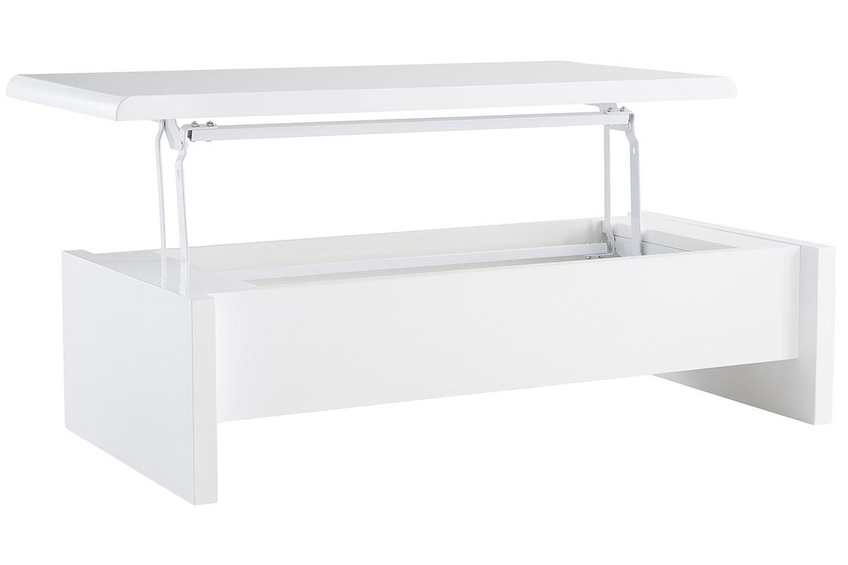 Table basse design reglable blanche avec rangement lola - Table basse blanche avec rangement ...